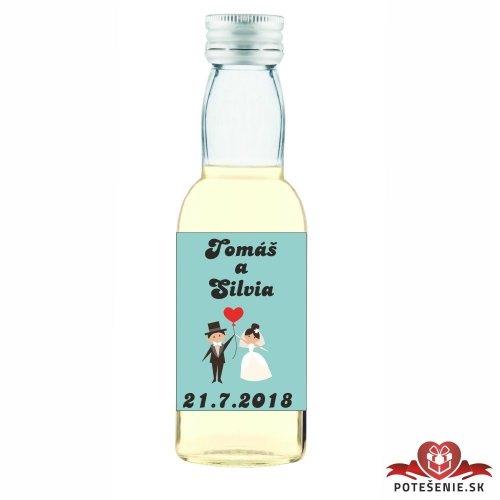 Svatební mini lahvička s alkoholem, motív S035 - Svatební lahvičky malé