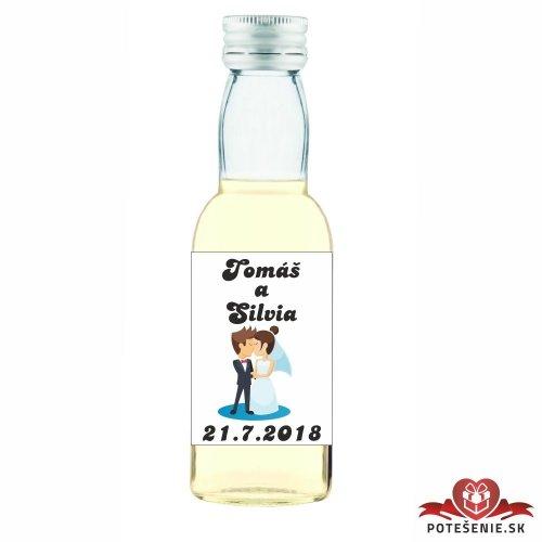 Svatební mini lahvička s alkoholem, motív S042 - Svatební lahvičky malé