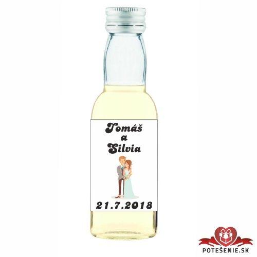 Svatební mini lahvička s alkoholem, motív S072 - Svatební lahvičky malé