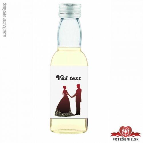 Svatební mini lahvička s alkoholem, motív S325 - Svatební lahvičky malé