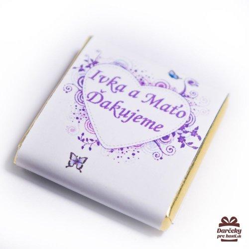 Svatební mini čokoládka, motív S001 - Svatební mini čokoládky