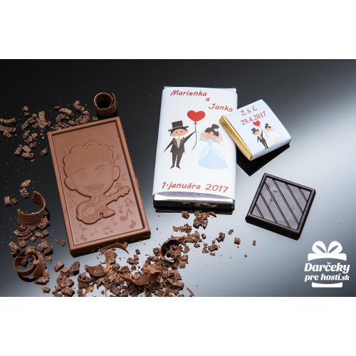 Svatební mini čokoládka, motív S009