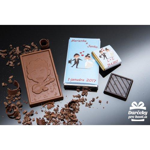 Svatební mini čokoládka, motív S010