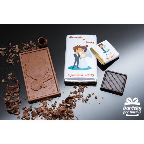 Svatební mini čokoládka, motív S017