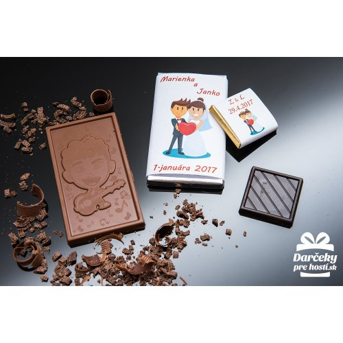 Svatební mini čokoládka, motív S018