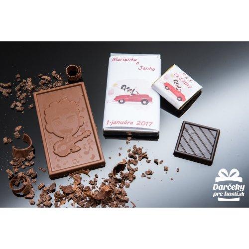 Svatební mini čokoládka, motív S020